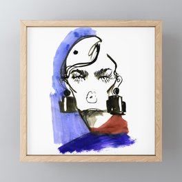 Lady Lashes fashion sketch Framed Mini Art Print