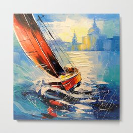 Yacht in the wind Metal Print