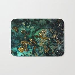 Gold Indigo Malachite Marble Bath Mat