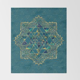 Sri Yantra  / Sri Chakra Gold, Marble and Teal Throw Blanket