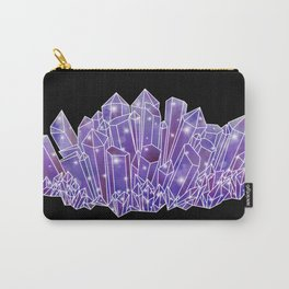 Purple Crystal Cluster Carry-All Pouch