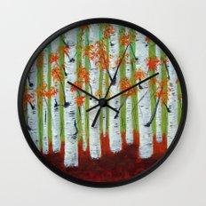 Atumn Birch trees - 5 Wall Clock