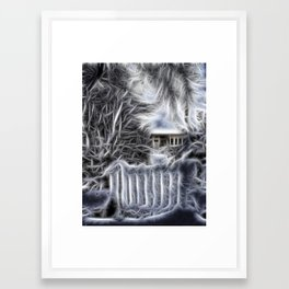 The snowy gate Framed Art Print