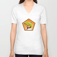 trout V-neck T-shirts featuring Trout Fish Jumping Retro by retrovectors