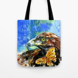 Golden Eagle And Butterfly by Kathy Morton Stanion Tote Bag