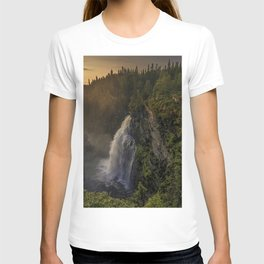 Hällingsafallet Waterfall evening sunset mountain landscape mountain waterfall Jamtland County Sweden T-shirt