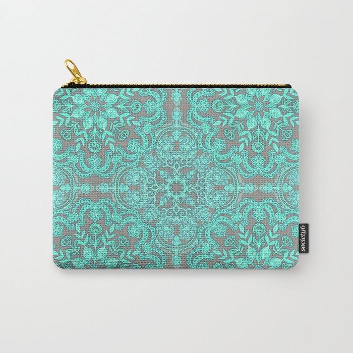 Mint Green & Grey Folk Art Pattern Carry-All Pouch
