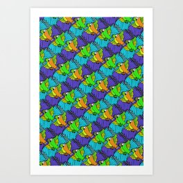 Tessellated Parrots Art Print