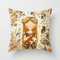 rabbits Throw Pillows featuring The Queen of Pentacles by Teagan White