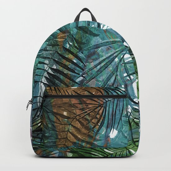 Aloha- Tropical Palm Leaves and Monstera Leaf Garden Backpack
