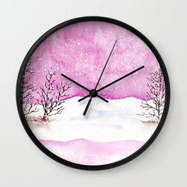 Winter Watercolor Painting Wall Clock