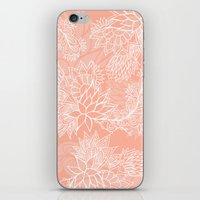 aelwen iPhone & iPod Skins featuring Chic hand drawn floral pattern on pink blush by Girly Trend