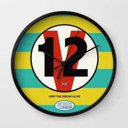 SRC Preparations. Racecar Rebels. V12 British Wall Clock