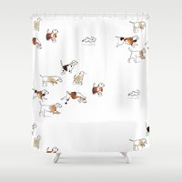 hunting Shower Curtains featuring Beagles hunting by Julie's Fabrics & Thingummies