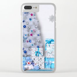 Christmas interior in blue color. Christmas tree with fireplace, Christmas holiday and New Year back Clear iPhone Case
