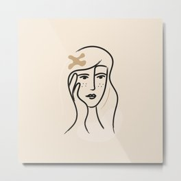 _illustration in minimal style minimalistic female portrait Metal Print