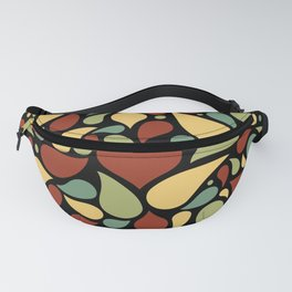 Heart surrounded by drops black pattern Fanny Pack