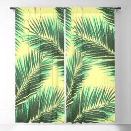 Tropical Palm Leaf Pattern 3 - Tropical Wall Art - Summer Vibes - Modern, Minimal - Green, Beige Blackout Curtain