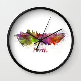 Perth skyline in watercolor Wall Clock