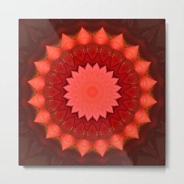 Mandala red blossom Metal Print