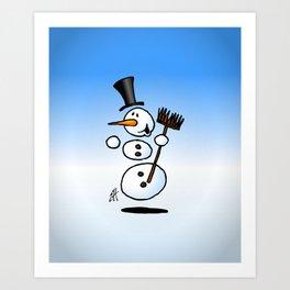 Dancing snowman Art Print