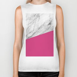 Marble and Pink Yarrow Color Biker Tank