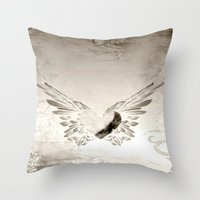 angel wings Throw Pillows featuring angel wings by Mariedesignz