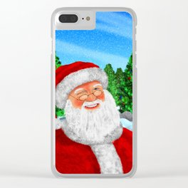 Winking Santa Clear iPhone Case