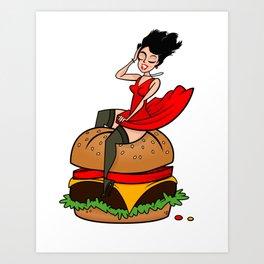 Hamburger Hottie Art Print