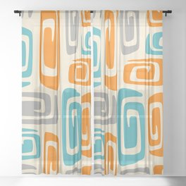 Mid Century Modern Cosmic Abstract 740 Orange Blue and Gray Sheer Curtain