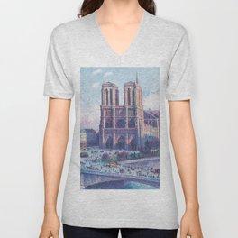 Notre Dame Cathedral, Paris, France Masterpiece by Maximilian Luce Unisex V-Neck