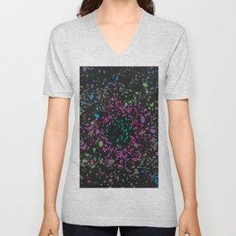 Vibrant Neons on Black Paint Splatter Design Unisex V-Neck