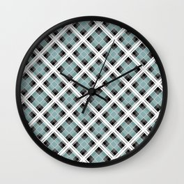 Tartan 1 blue , gray blue Wall Clock