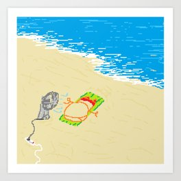 Boy at beach with fan Art Print