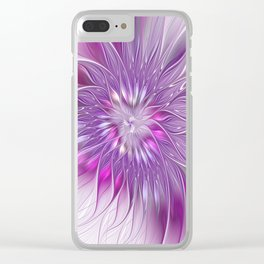 Pink Flower Passion, Abstract Fractal Art Clear iPhone Case