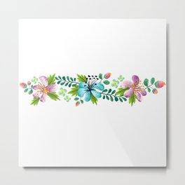 Bouquet ORCHID - Violet, Green AND Blue Flower Metal Print