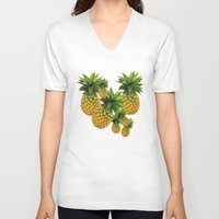 pineapples V-neck T-shirts featuring Pineapples by Erika Kaisersot