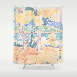 Pines on the Coastline by Henri-Edmond Cross, French Shower Curtain
