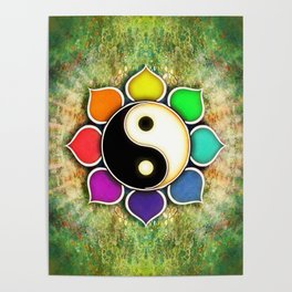 Yin Yang - Flower Rainbow Colors Poster