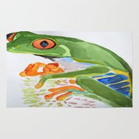frog Area & Throw Rugs featuring Frog by The Traveling Catburys