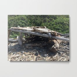 Driftwood hut at Klamath Beach Metal Print