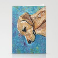 lab Stationery Cards featuring Yellow Lab by gretzky