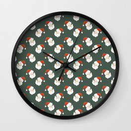christmas santa pattern Wall Clock
