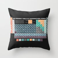 periodic table Throw Pillows featuring Periodic Table of Supernatural Beings by Sarah