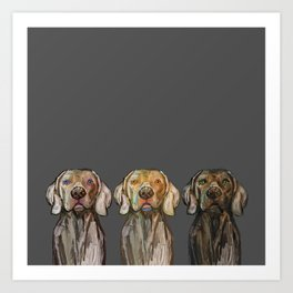 Triple Hunting Dogs in Dark Art Print