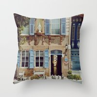 jewish Throw Pillows featuring Blue Shutters in the Sun by Brown Eyed Lady
