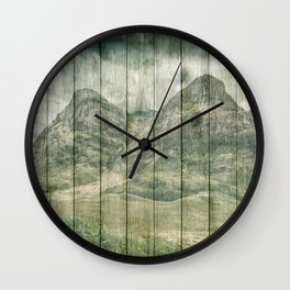 Rustic Country Wood Mountains Landscape Wall Clock