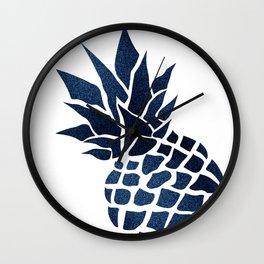 Pineapple, Big Blue, Denim Navy Wall Clock
