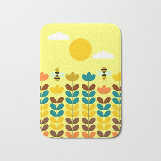 Flowers with bees Bath Mat