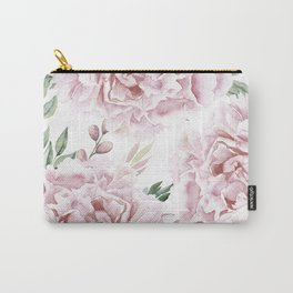 Pretty Pink Roses Flower Garden Carry-All Pouch